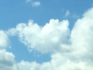 Heart shaped puffy cloud
